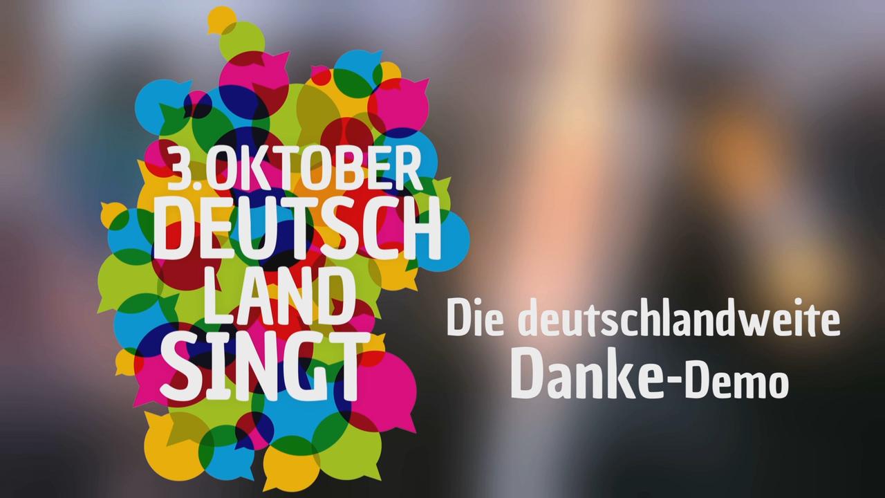 Buntes Logo der Aktion Deutschland singt mit Claim.