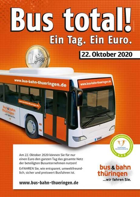 Plakat der Aktion Bus total - Ein Tag - Ein Euro