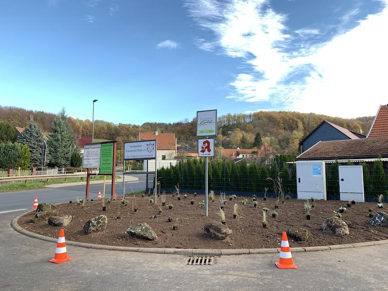 """Auf der Verkehrsinsel an der Hauptstraße in Seebach sind die ersten Pflanzen der Staudenmischung """"Silbersommer"""" auf den Boden gesetzt."""