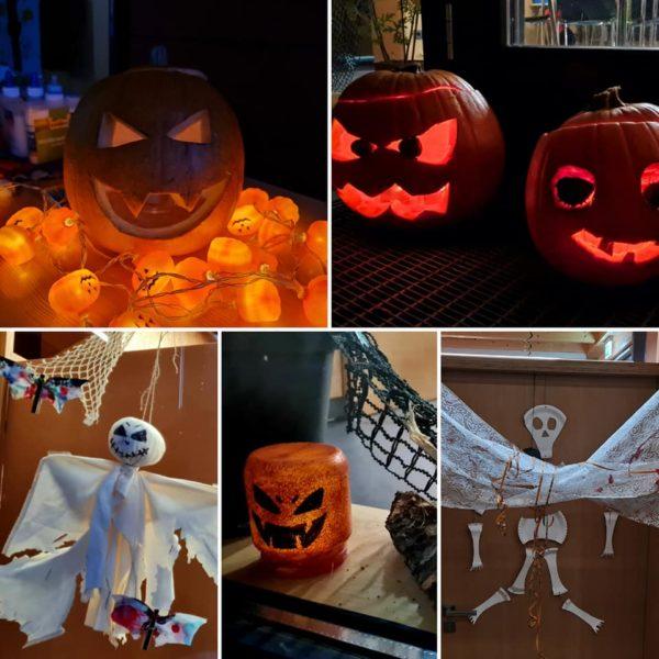 Collage aus Halloween-Dekoration mit Kürbissen und Gespenstern