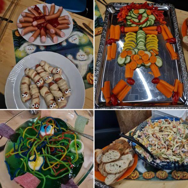 Collage mit Halloween-Leckereien: Würstchen als Mumien, Wackelpudding mit Glubschaugen, und vieles mehr