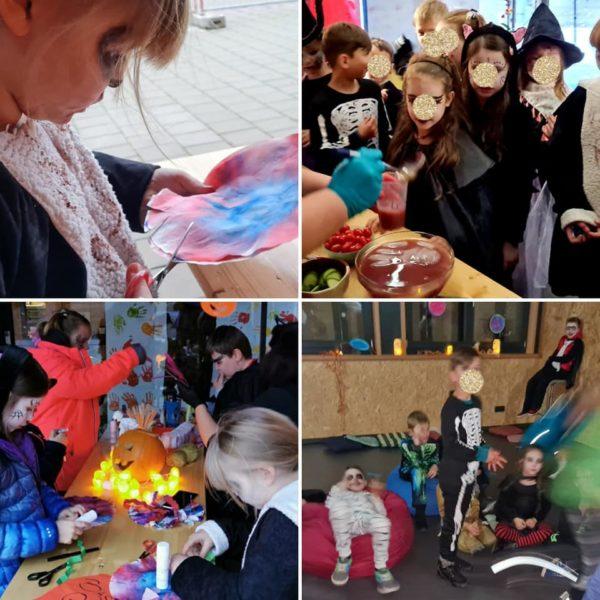Collage von Kindern, die zur Halloweenparty basteln und spielen.