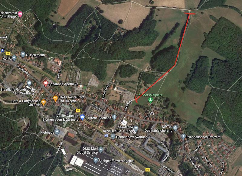 Satelliten Ansicht auf Seebach mit eingezeichnetem Weg, der gesperrt wird.